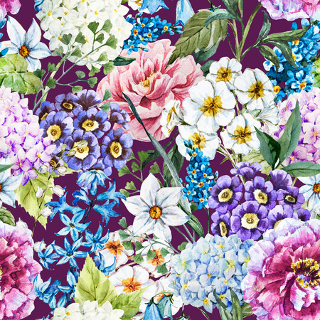 spring summer: Beautiful raster image with nice watercolor floral pattern