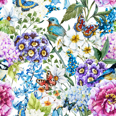 flowers: Beautiful raster image with nice watercolor floral pattern