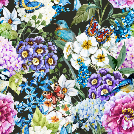 primrose: Beautiful raster image with nice watercolor floral pattern