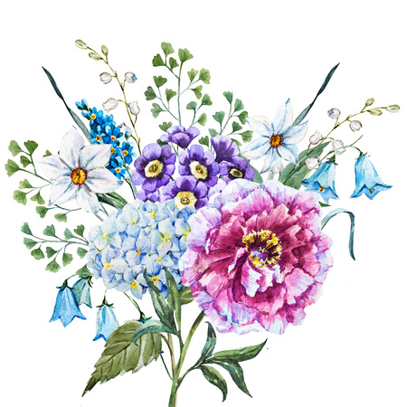 Beautiful raster image with nicehand drawn watercolor flowers