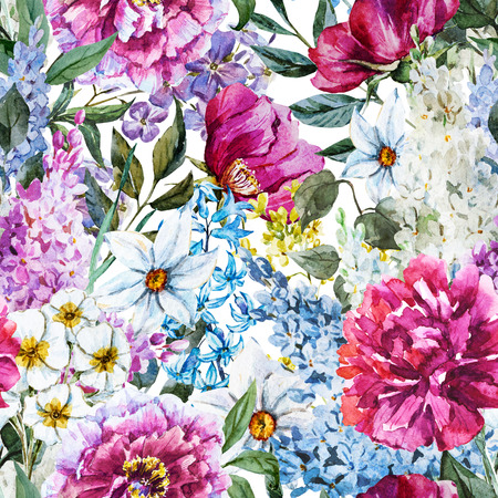 mooi beeld raster met mooie waterverf bloemenpatroon