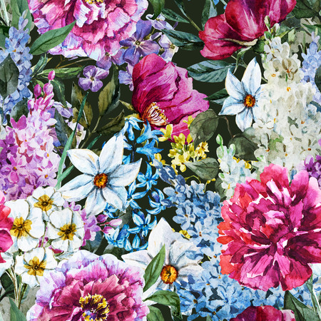 seamless floral: Beautiful raster image with nice watercolor floral pattern