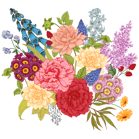 valley: Beautiful vector image with nice vhand drawn flowers Illustration