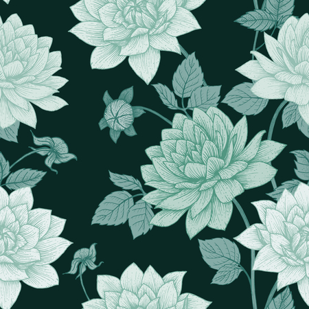 lotus flowers: Beautiful vector  image with nice hand drawn floral pattern