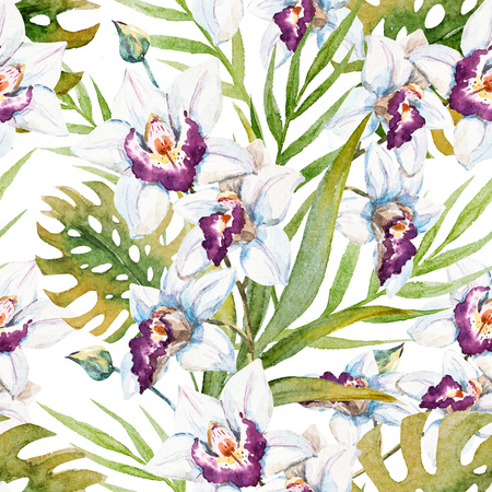 thai orchid: Beautiful raster pattern with nice watercolor tropical orchid flowers Stock Photo