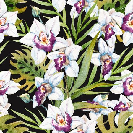 orchidee: Bello reticolo raster con un bel acquerello orchidea fiori tropicali