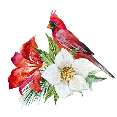 retro flowers: Beautiful raster image with nice watercolor flowers with bird Stock Photo