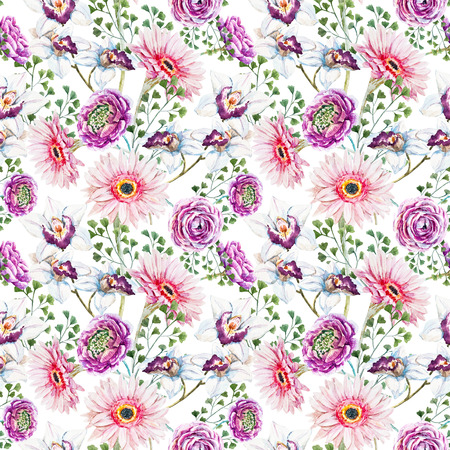 repeating background: Beautiful raster image with nice watercolor floral pattern