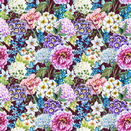 Mooie vector afbeelding met mooie aquarel bloemmotief Vector Illustratie