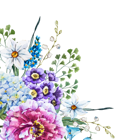 Beautiful vector image with nicehand drawn watercolor flowers