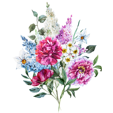 bouquet: Beautiful vector image with nicehand drawn watercolor flowers