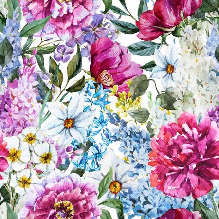 primavera: Imagen hermosa del vector con un bonito estampado de flores de la acuarela Vectores