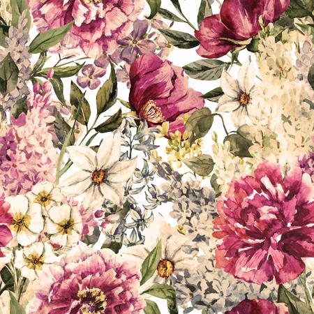 Belle image vectorielle avec une belle aquarelle motif floral