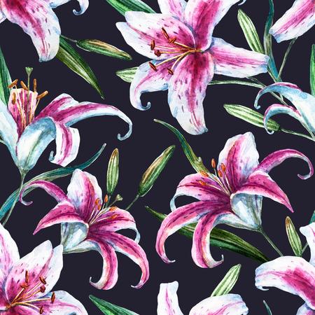 lirio blanco: Patrón de trama hermosa con bonita acuarela lirios tropicales