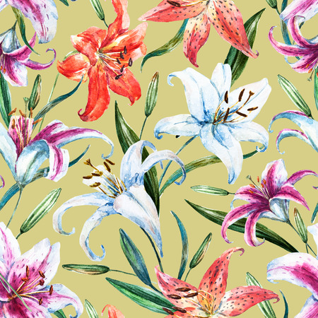 strelitzia: Beautiful raster pattern with nice watercolor tropical lillies