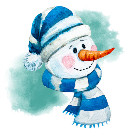 Beautiful raster image with nice watercolor hand drawn snowman