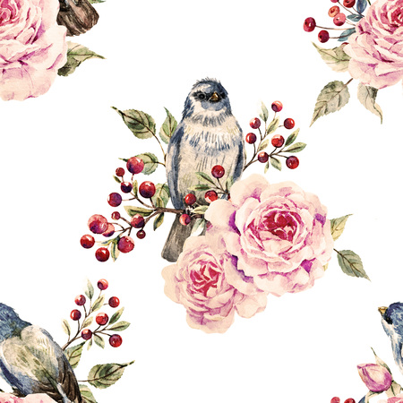 yellow card: Beautiful raster pattern with nice watercolor birds and flowers Stock Photo