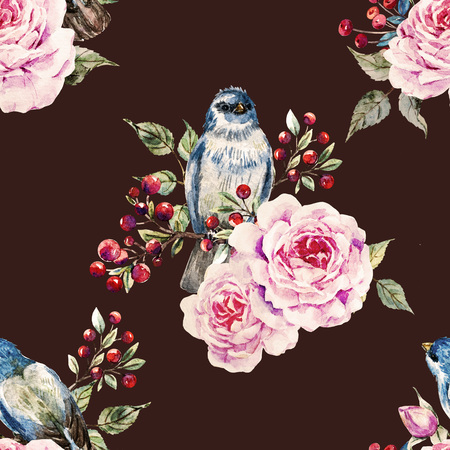 beautiful rose: Beautiful raster pattern with nice watercolor birds and flowers Stock Photo