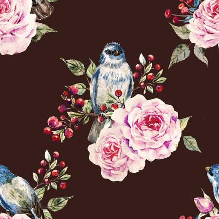chickadee: Beautiful raster pattern with nice watercolor birds and flowers Stock Photo