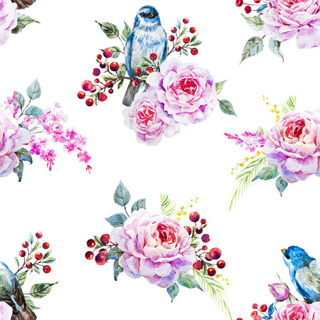 vintage rose: Beautiful raster pattern with nice watercolor birds and flowers Stock Photo