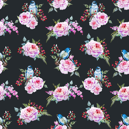 blue roses: Beautiful raster pattern with nice watercolor birds and flowers Stock Photo