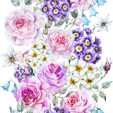 in english: Beautiful raster pattern with nice watercolor flowers