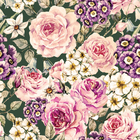 Beautiful raster pattern with nice watercolor flowers