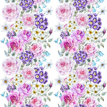 primrose: Beautiful raster pattern with nice watercolor flowers