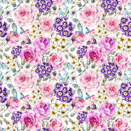 english rose: Beautiful raster pattern with nice watercolor flowers