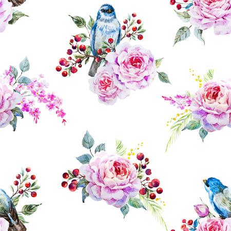 chickadee: watercolor birds and flowers Illustration