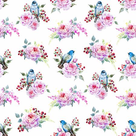 animales del bosque: pájaros acuarela y flores Vectores