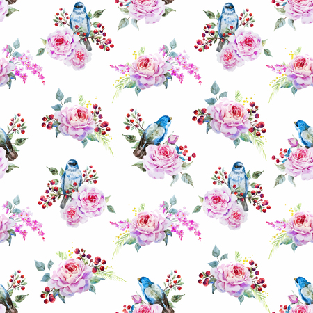 forest animals: watercolor birds and flowers Illustration