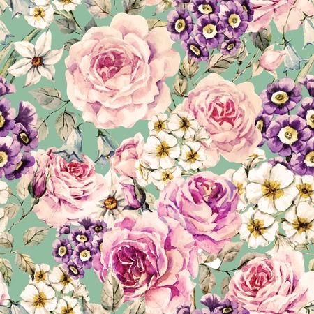 like english: watercolor flowers