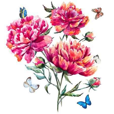 mazzo di fiori: peonia acquerello Vettoriali