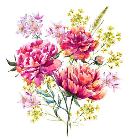 flowers: flores de peonía acuarela Vectores