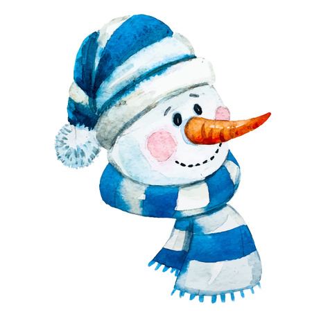 watercolor snowman Reklamní fotografie - 49598945