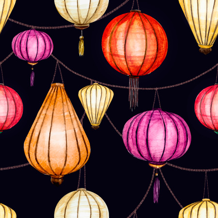 chinese watercolor: Beautiful vector pattern with nice watercolor chinese lantern