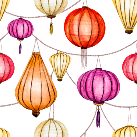 yellow tassel: Beautiful vector pattern with nice watercolor chinese lantern