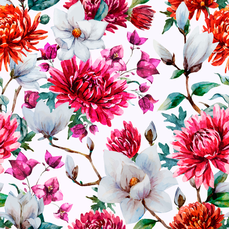 famous paintings: Beautiful vector pattern with nice watercolor chrysanthemum and magnolia