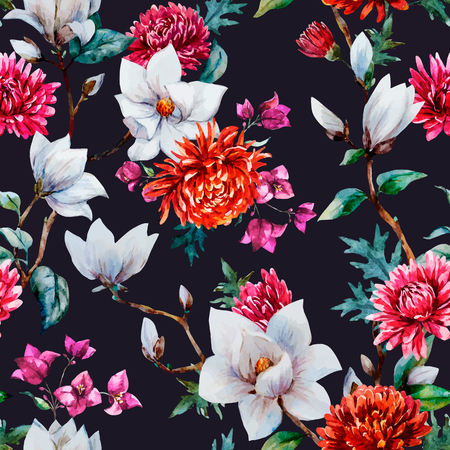 Beautiful vector pattern with nice watercolor chrysanthemum and magnolia