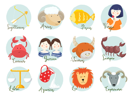 zodiac signs: Beautiful raster image with nice hand drawn horoscope signs