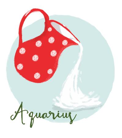artistic: Beautiful vector image with nice aquarius horoscope sign Illustration