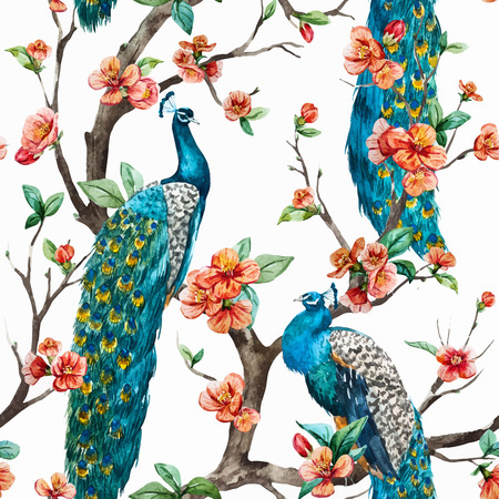 Beautiful vector pattern Watercolor raster peacock pattern