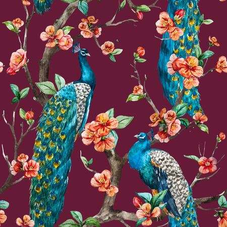 Beautiful vector pattern Watercolor raster peacock pattern Фото со стока - 50437614