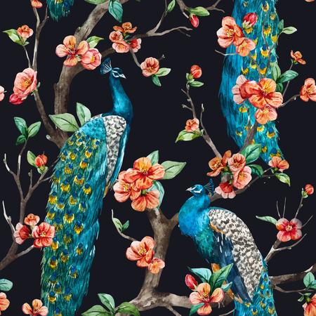 Piękne wektor wzór Akwarela raster paw wzór