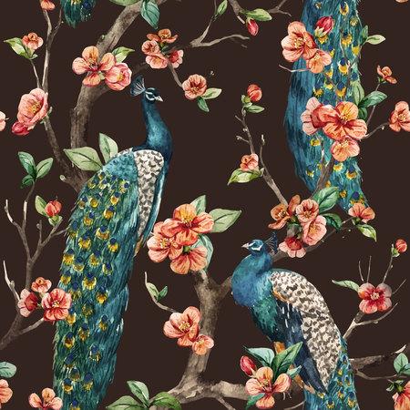 Prachtige vector patroon Aquarel raster peacock pattern Stockfoto - 50437624