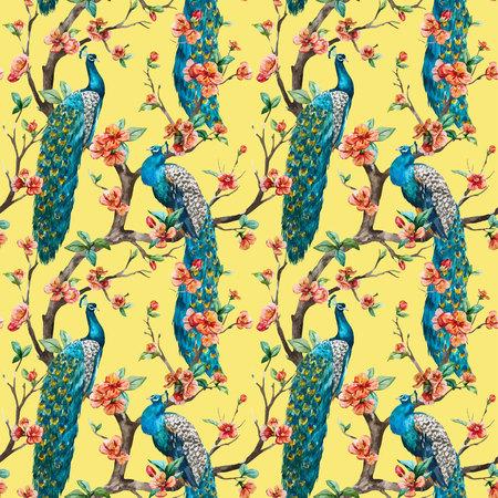 fleur de cerisier: Beau motif vecteur motif Aquarelle raster paon Illustration