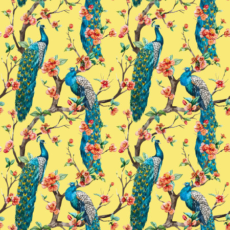 plant design: Beautiful vector pattern Watercolor raster peacock pattern