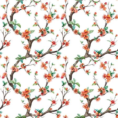 Beautiful vector pattern with nice watercolor sakura tree Ilustração