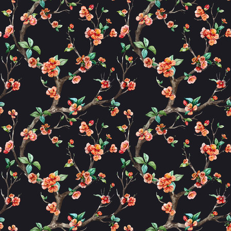 peach: Beautiful vector pattern with nice watercolor sakura tree Illustration